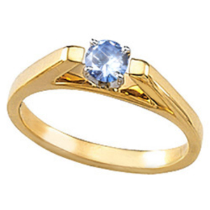 Cathedral Engagement 14K Yellow Gold Ring with Fancy Blue Diamond