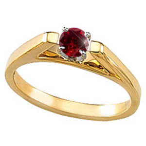Cathedral Engagement 14K Yellow Gold Ring with Fancy Deep Red Diamond