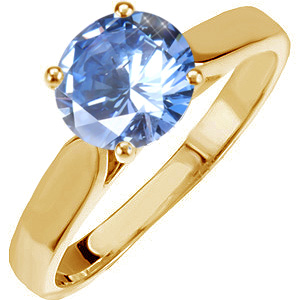 Classic Cathedral Engagement 14K Yellow Gold Ring with Fancy Blue Diamond