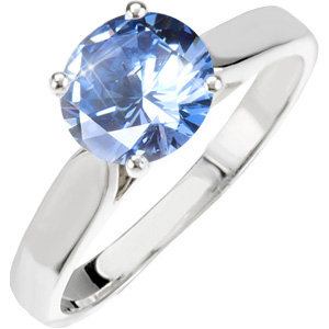 Classic Cathedral Engagement Platinum Ring with Fancy Blue Diamond