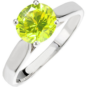 Classic Cathedral Engagement 14K White Gold Ring with Fancy Greenish-Yellow Diamond