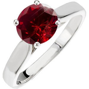 Classic Cathedral Engagement 14K White Gold Ring with Fancy Deep Red Diamond