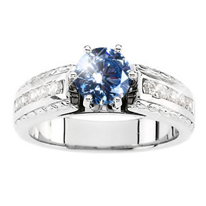 Cathedral Channel Set Engagement 14K White Gold Ring with Fancy Blue Diamond