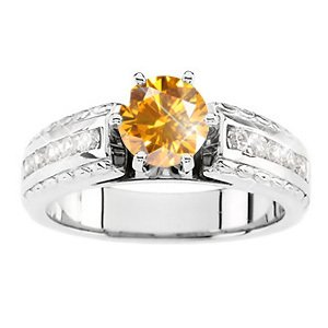 Cathedral Channel Set Engagement 14K White Gold Ring with Fancy Orange-Yellow Diamond
