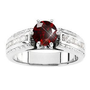 Cathedral Channel Set Engagement Platinum Ring with Fancy Deep Red Diamond