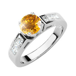 Cathedral Channel Set Engagement Platinum Ring with Fancy Orange-Yellow Diamond