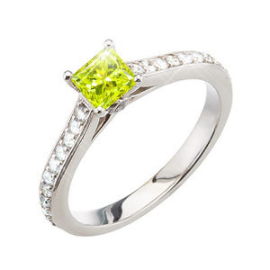 Stunning Princess Cut Engagement 14K White Gold Ring with Greenish-Yellow Diamond