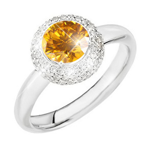 Pave 14K White Gold Engagement Ring with Fancy Orange-Yellow Diamond