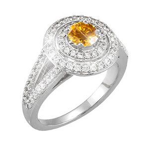 Split Shank Platinum Halo Engagement Ring with Fancy Orange-Yellow Diamond