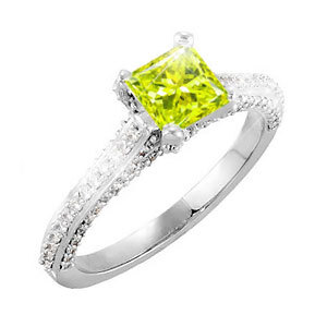 Cathedral Engagement 18K White Gold Ring with square cut Fancy Greenish-Yellow Diamond