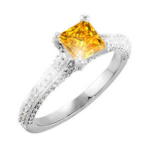 Cathedral Engagement Platinum Ring with square cut Fancy Orange-Yellow Diamond