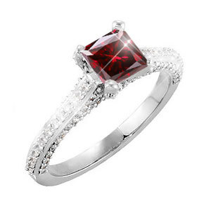 Cathedral Engagement Platinum Ring with square cut Fancy Deep Red Diamond