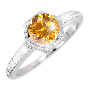 Vintage 6-Prong Engagement Platinum Ring with Fancy Orange-Yellow Diamond