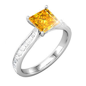 ... Princess Cut Platinum Engagement Ring Fancy Orange-Yellow Diamond