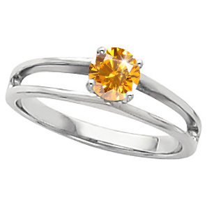 Modern Engagement 14K White Gold Ring with Fancy Orange-Yellow Diamond