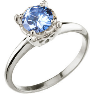 Illusion Box Solitaire 14K White Gold Ring with Fancy Blue Diamond