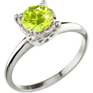 Illusion Box Solitaire 14K White Gold Ring with Fancy Greenish-Yellow Diamond