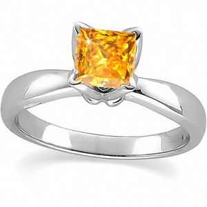 Flora Solitaire Platinum Ring with Fancy Orange-Yellow Diamond