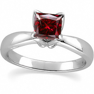 Flora Solitaire 14K White Gold Ring with Fancy Deep Red Diamond