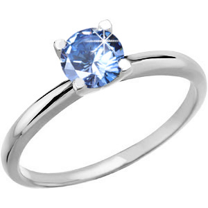 4-Prong Solitaire Platinum Ring with Fancy Blue Diamond