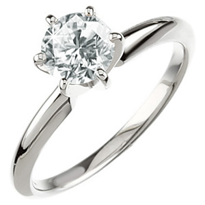 6-Prong Comfort-Fit Solitaire 14K White Gold Ring with White Diamond