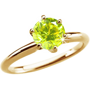 6-Prong Comfort-Fit Solitaire 14K Yellow Gold Ring with Fancy Greenish-Yellow Diamond