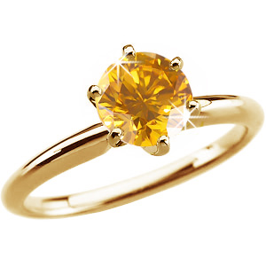 6-Prong Comfort-Fit Solitaire 14K Yellow Gold Ring with Fancy Orange-Yellow Diamond