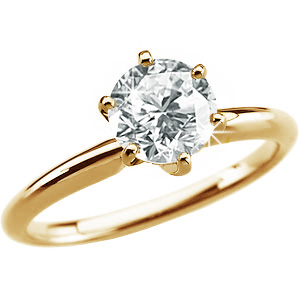 6-Prong Comfort-Fit Solitaire 14K Yellow Gold Ring with White Diamond