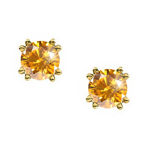 Stylish Twin-Prong Round 14K Yellow Gold Stud Earrings with Orange-Yellow Diamonds