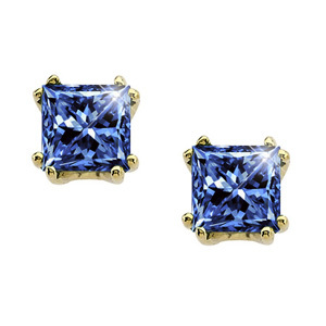 Modern Twin-Prong Princess Cut 14K Yellow Gold Stud Earrings with Blue Diamonds
