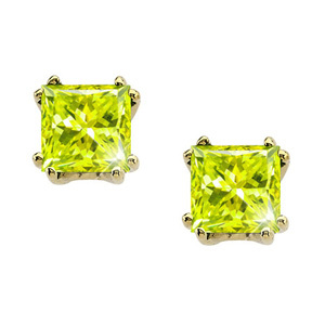 Modern Twin-Prong Princess Cut 14K White Gold Stud Earrings with Greenish-Yellow Diamonds