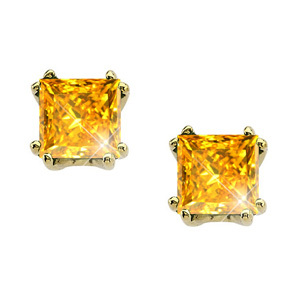 Created Diamonds Modern Twin-Prong Princess Cut 14K Yellow Gold Stud Earrings with Orange-Yellow Diamond 0.1+ carat each Princess cut at Sears.com