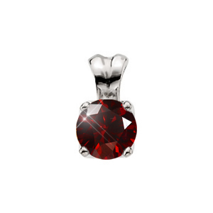 Classic Solstice Four-Prong Platinum Pendant with Deep Red Diamond
