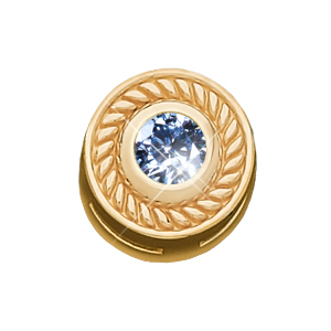 Roman Style Chain Slide 18K Yellow Gold Pendant with Blue Diamond