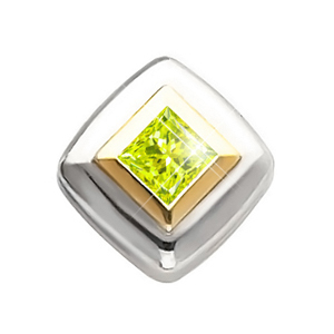 Princess Cut Chain Slide 14K White/Yellow Gold Pendant with Greenish-Yellow Diamond