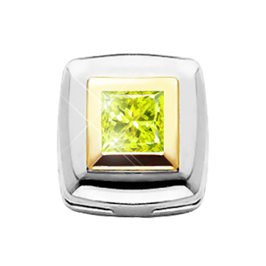 Square Chain Slide 14K White Gold Pendant with Greenish-Yellow Diamond
