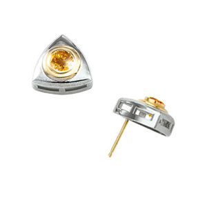 Created Diamonds Bezel-Set Round Cut 14K White/Yellow Gold Stud Earrings with Orange-Yellow Diamond 1/4 carat each Brilliant cut at Sears.com