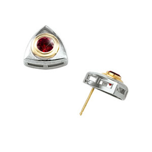 Created Diamonds Bezel-Set Round Cut 14K White/Yellow Gold Stud Earrings with Deep Red Diamond 1/4 carat each Brilliant cut at Sears.com
