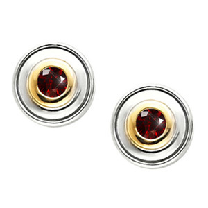 Timeless Two-Tone Bezel-Set 14K White/Yellow Gold Stud Earrings with Deep Red Diamonds