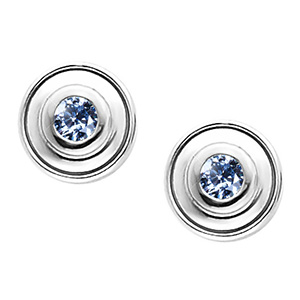 Timeless Bezel-Set 14K White Gold Stud Earrings with Blue Diamonds