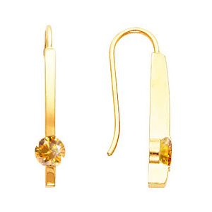 Smart Linear Round Cut 14K Yellow Gold Stud Earrings with Orange-Yellow Diamonds