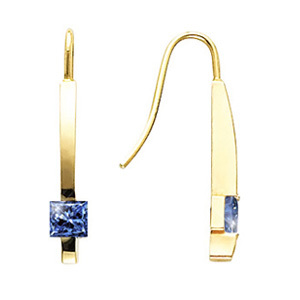 Solitaire Linear Princess Cut 14K White Gold Stud Earrings with Blue Diamonds