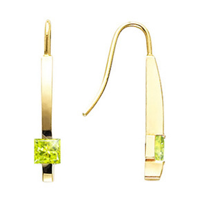 Solitaire Linear Princess Cut 14K White Gold Stud Earrings with Greenish-Yellow Diamonds