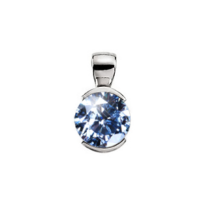 Elegant Half-Bezel Set 14K White Gold Pendant with Blue Diamond