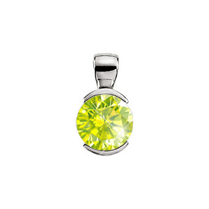 Elegant Half-Bezel Set Platinum Pendant with Greenish-Yellow Diamond