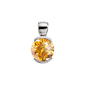 Elegant Half-Bezel Set 18K White Gold Pendant with Orange-Yellow Diamond