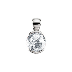 Elegant Half-Bezel Set Platinum Pendant with White Diamond