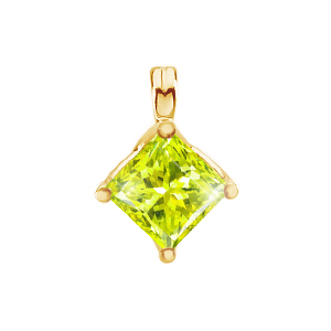 Princess Cut Four-Prong 18K Yellow Gold Pendant with Greenish-Yellow Diamond