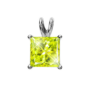 Light Weight Princess Cut Platinum Pendant with Greenish-Yellow Diamond