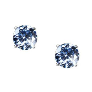 Elegant Round Cut Stud Platinum Earrings with Blue Diamonds
